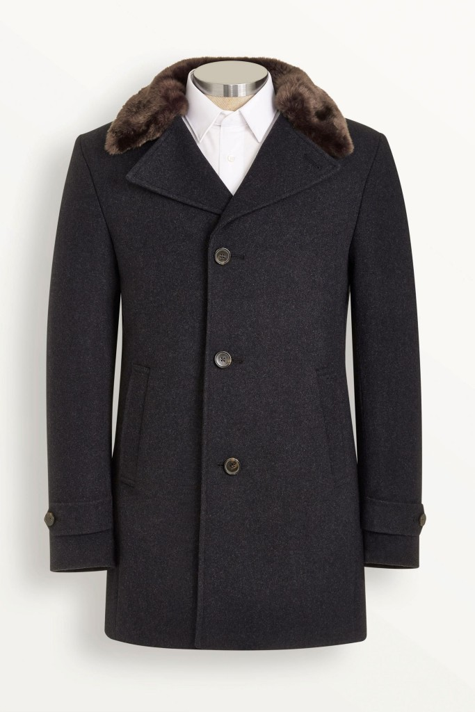 Navy Single Breasted Coat With Faux Fur Collar