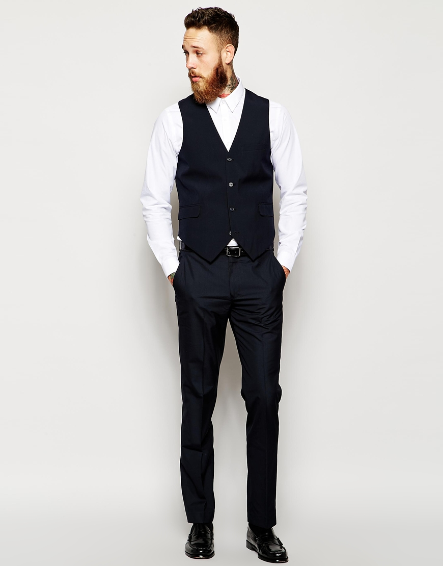 245c3a2652925 ASOS Slim Fit Suit Jacket In Navy Pindot - Above The Ankles