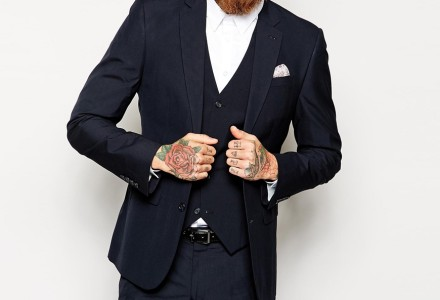 ASOS Slim Fit Suit Jacket In Navy Pindot 2