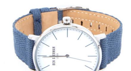 Blue Canvas Herringbone Watch 2