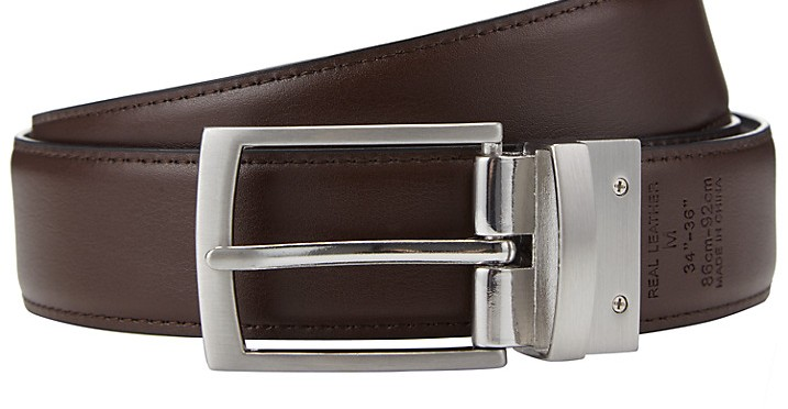 John Lewis Reversible Leather Belt, Black/Brown