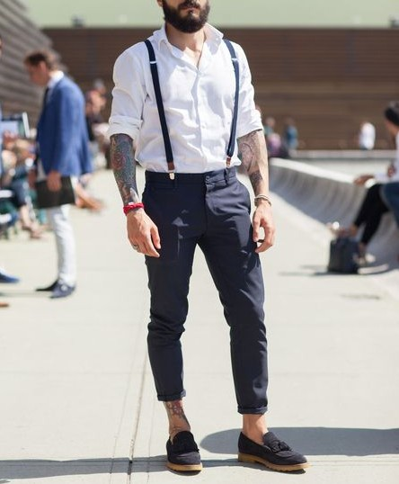 mens suspenders above the ankles