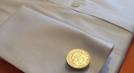 £1 coins cufflinks shirt