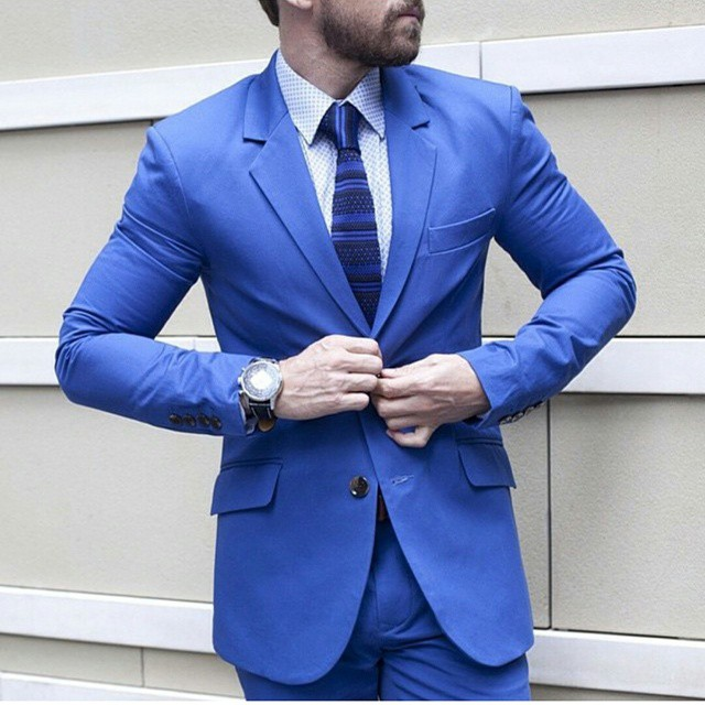 Bright Blue Tonic Slim Fit Suit - Above The Ankles
