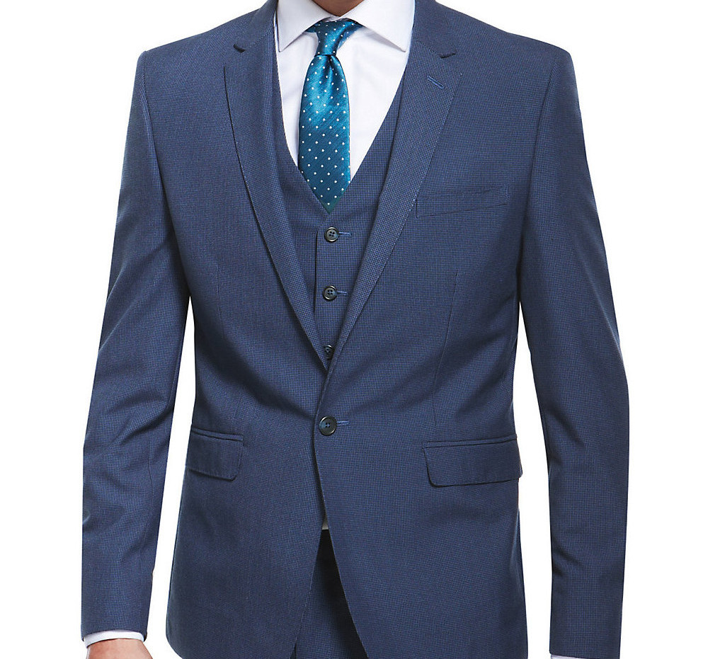 Blue Puppytooth Slim Fit Suit Including Waistcoat