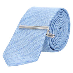 LIGHT BLUE TEXTURED SLIM TIE