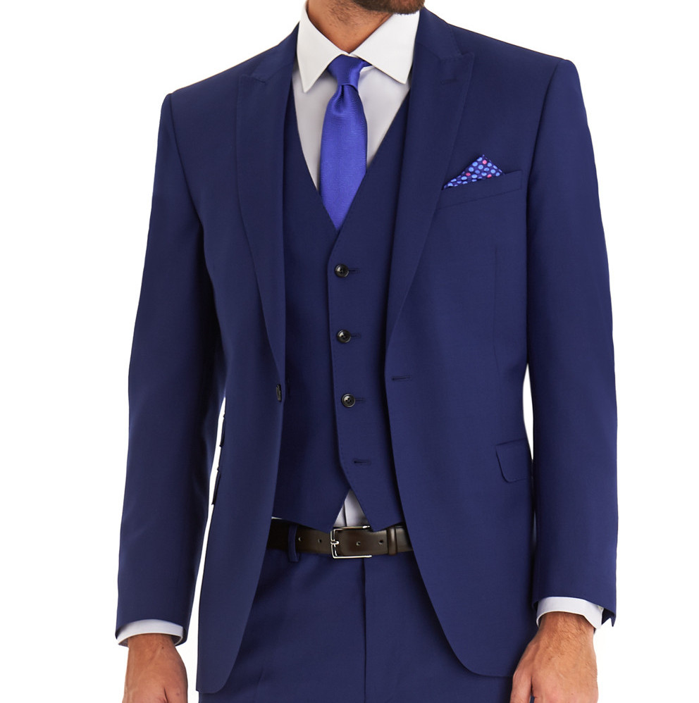 MOSS 1851 TAILORED FIT BRIGHT BLUE MOHAIR LOOK 3 PIECE SUIT