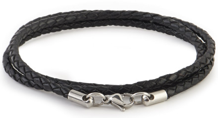 MOSS LONDON BLACK 3 LOOP BRAIDED LEATHER BRACELET