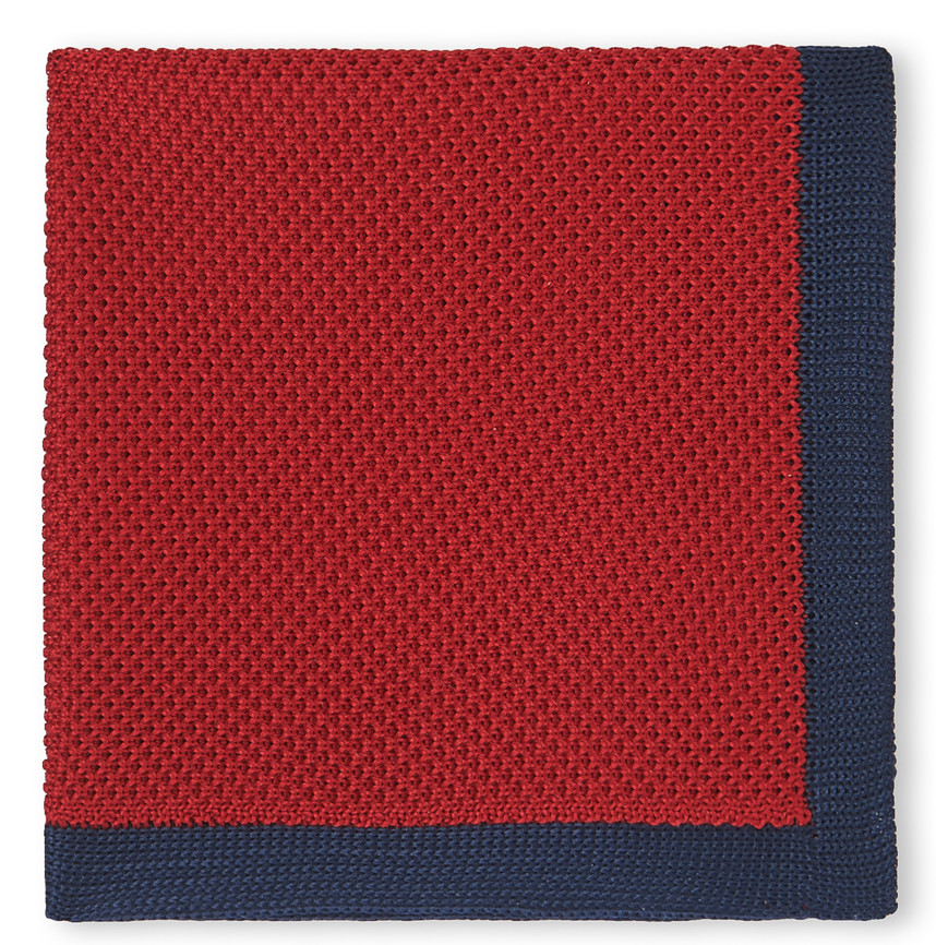 MOSS LONDON NAVY WITH RED BORDER KNITTED HANDKERCHIEF