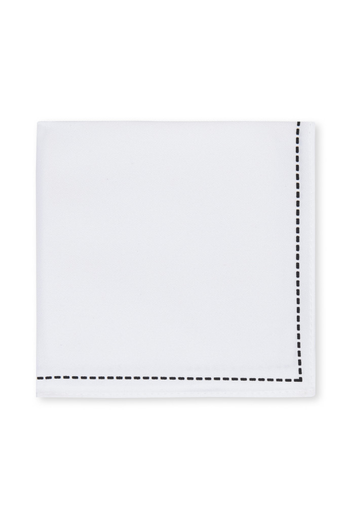 MOSS LONDON WHITE STITCH BORDER HANDKERCHIEF