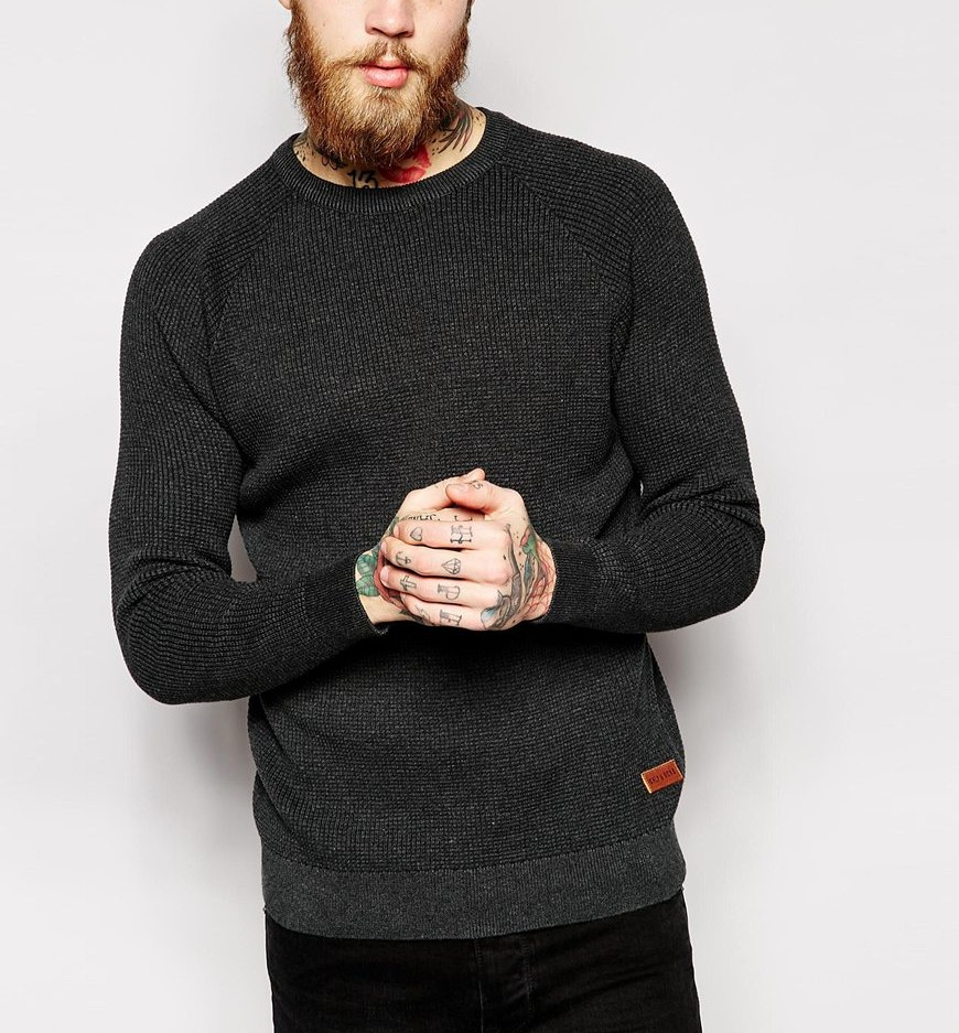 Only & Sons Knitted Waffle Jumper With Raglan Sleeves