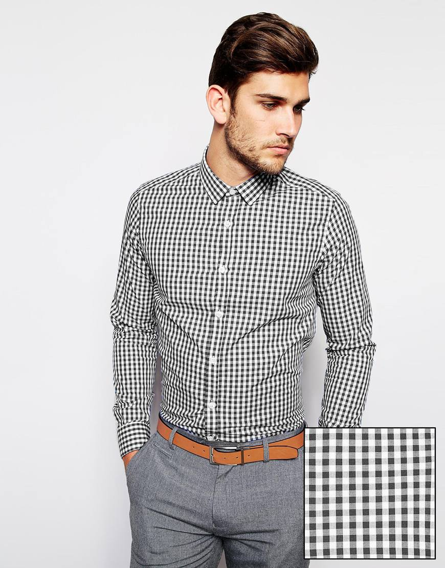 ASOS Smart Shirt with Long Sleeves in Gingham Check