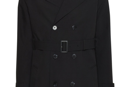 Black Shower Resistant Belted Trench Coat 2