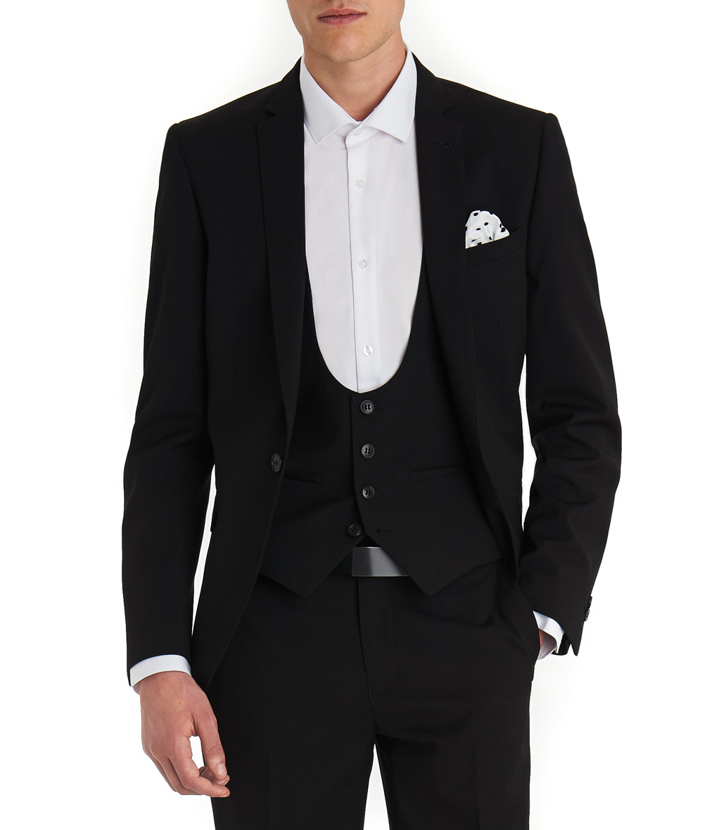 Moss London Slim Fit Black Mixer Suit Jacket
