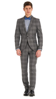 MOSS LONDON SLIM FIT GREY CHECK SUIT 2