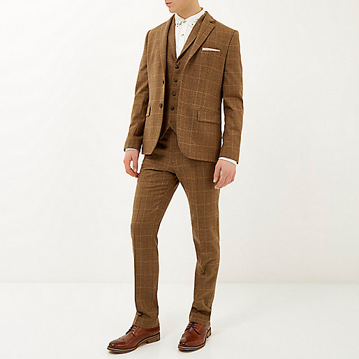 River Island Brown Check Three Piece Suit 5