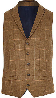 River Island Brown Check Three Piece Suit 6