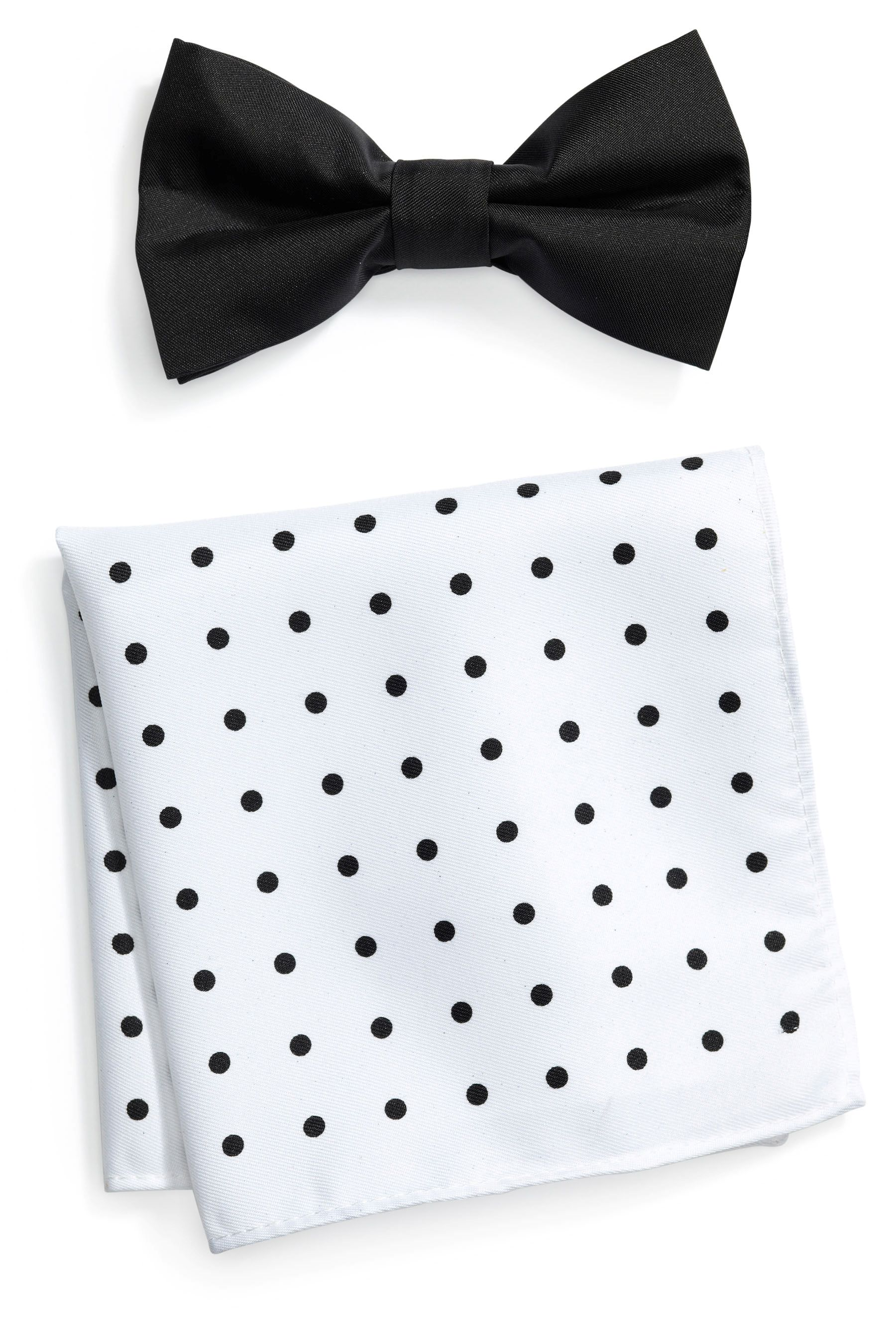 Black Bow Tie And Pocket Square