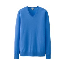 MEN Extra Fine Merino V-Neck Sweater Blue