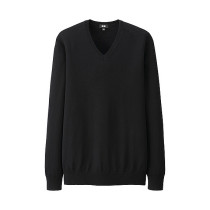 MEN Extra Fine Merino V-Neck Sweater Black