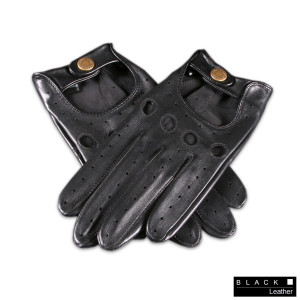 Men's Black Leather Driving Gloves 1