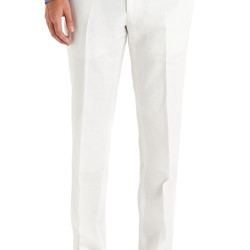 Moss 1851 Tailored Fit White Linen Trousers – £50.00