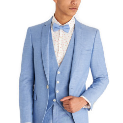 Moss London Slim Fit Sky Blue Linen Jacket 2