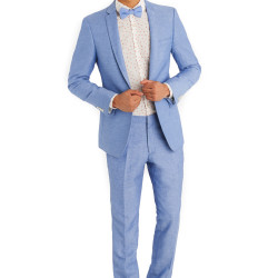 Moss London Slim Fit Sky Blue Linen Jacket 3