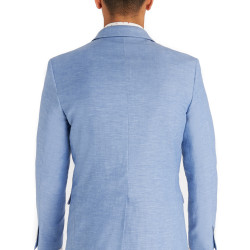 Moss London Slim Fit Sky Blue Linen Jacket 4