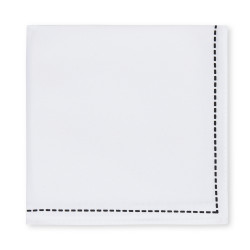 Moss London White Stitch Border Handkerchief – £7.00