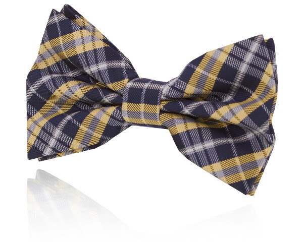 Navy Blue and Yellow Plaid Bow Tie