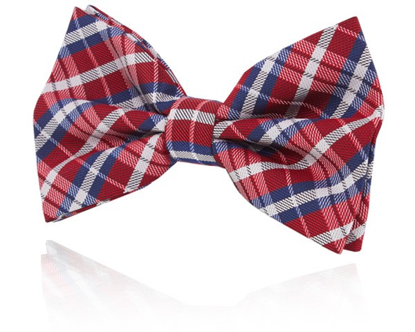 Red and Blue Plaid Bow Tie