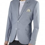 Light Blue Texture Cotton Blazer