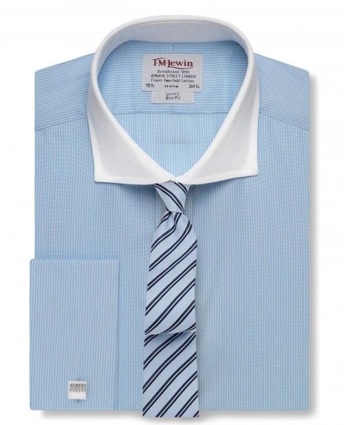 Slim Fit Light Blue Stripe White Cutaway Collar Shirt