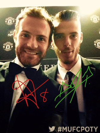 juan mata and de gea manchester united awards