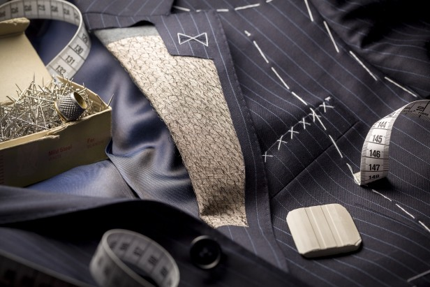 bespoke suit with stitching and tacking