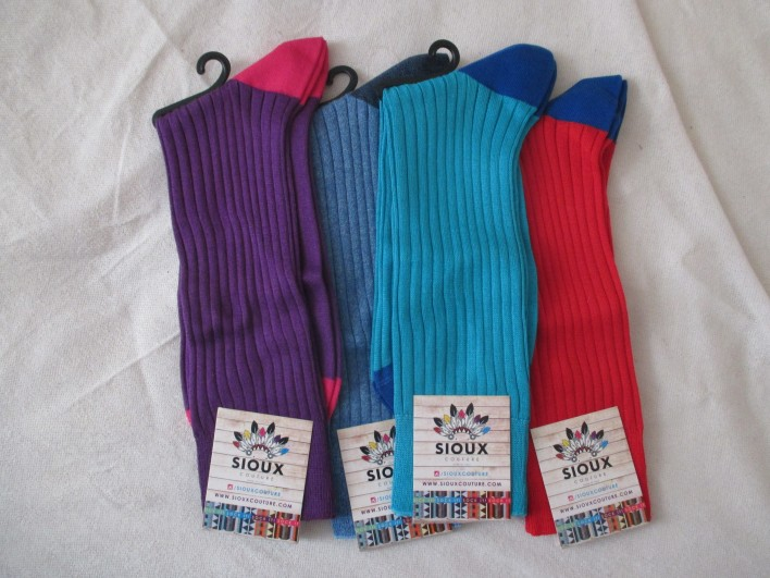 sioux couture purple blue and red socks by above the ankles