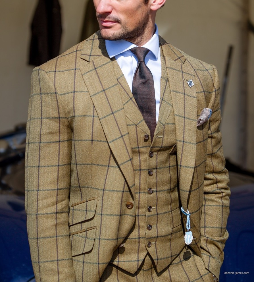 The model David Gandy wearing a bespoke suit by Henry Poole & Co