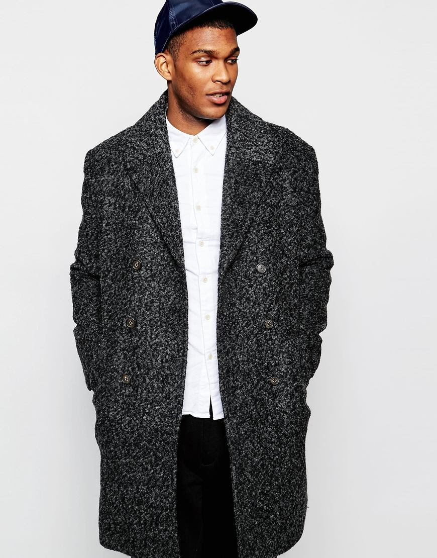 ASOS Double Breasted Overcoat In Black Boucle