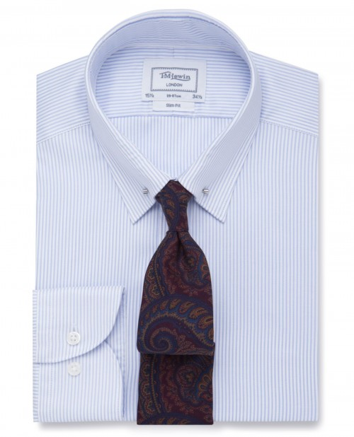 London Blue Slim Stripe Twill Pin Collar Slim Fit Shirt