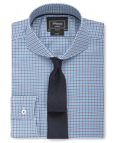 London Fitted Navy Teal Check Twill Shirt