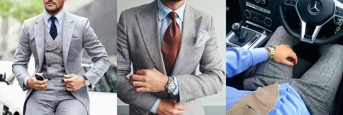 grey suit blue shirt instagram
