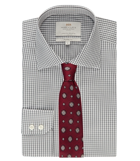 Hawes & Curtis Grey & White Gingham Check Shirt