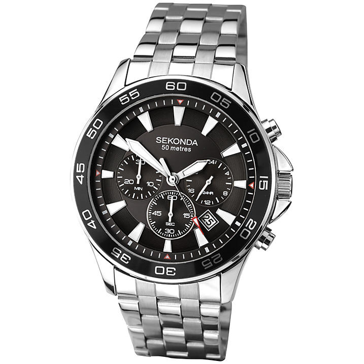 Sekonda 1047.27 Men's Chronograph Stainless Steel Bracelet Strap Watch, Silver/Black