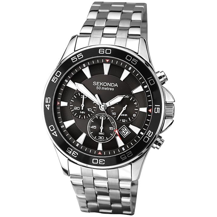 Sekonda 1047.27 Men's Chronograph Stainless Steel Bracelet Strap Watch, Silver/Black