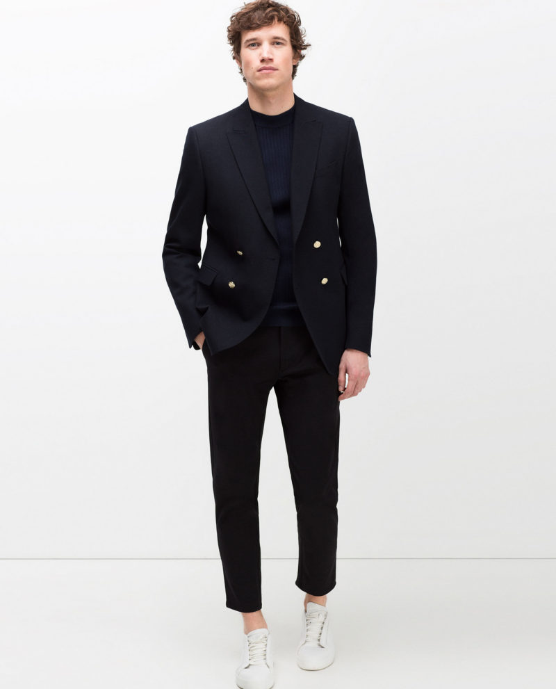 Zara Navy Blue Double Breasted Wool Crossover Blazer