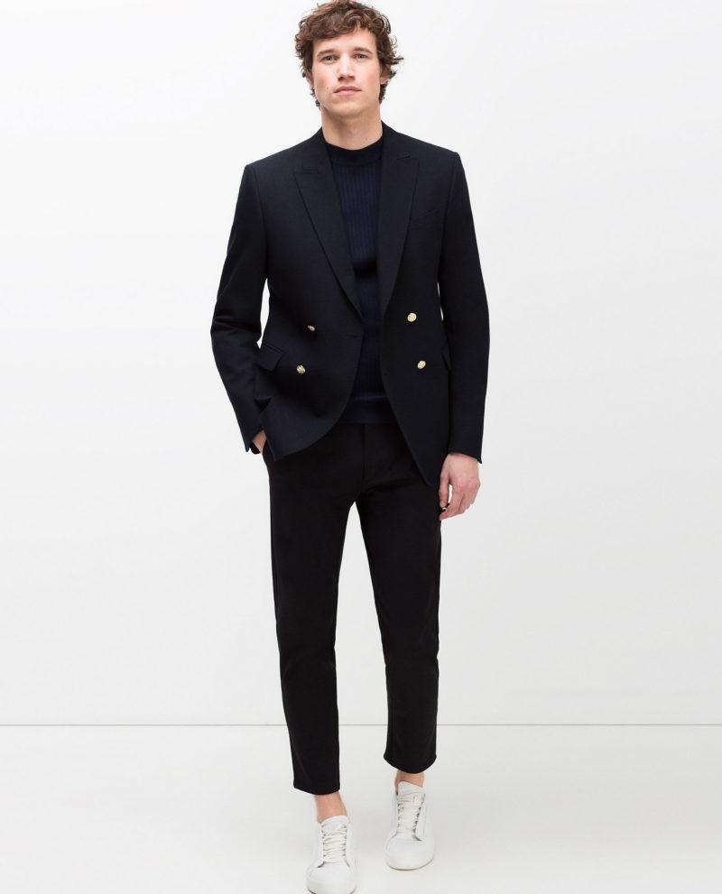 Zara Navy Blue Double Breasted Wool Crossover Blazer