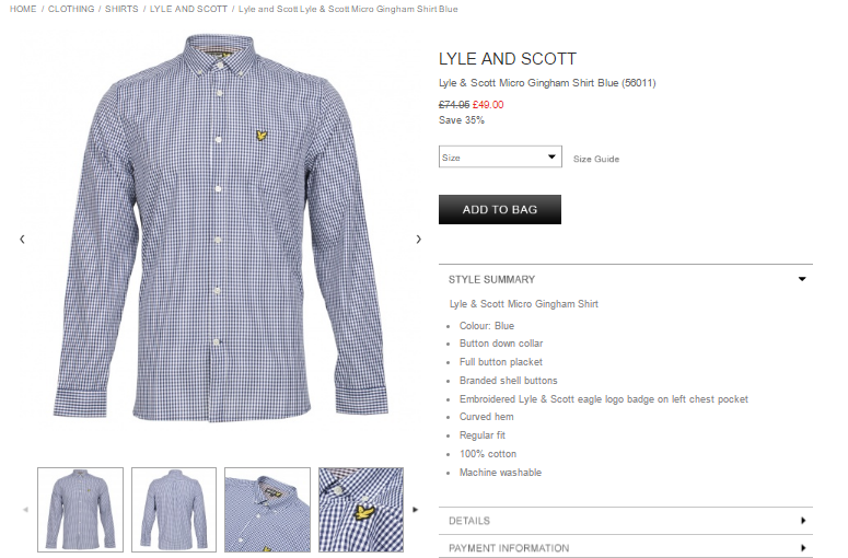 Lyle and Scott Lyle & Scott Micro Gingham Shirt Blue