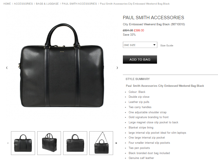 Paul Smith Accessories City Embossed Weekend Bag Black
