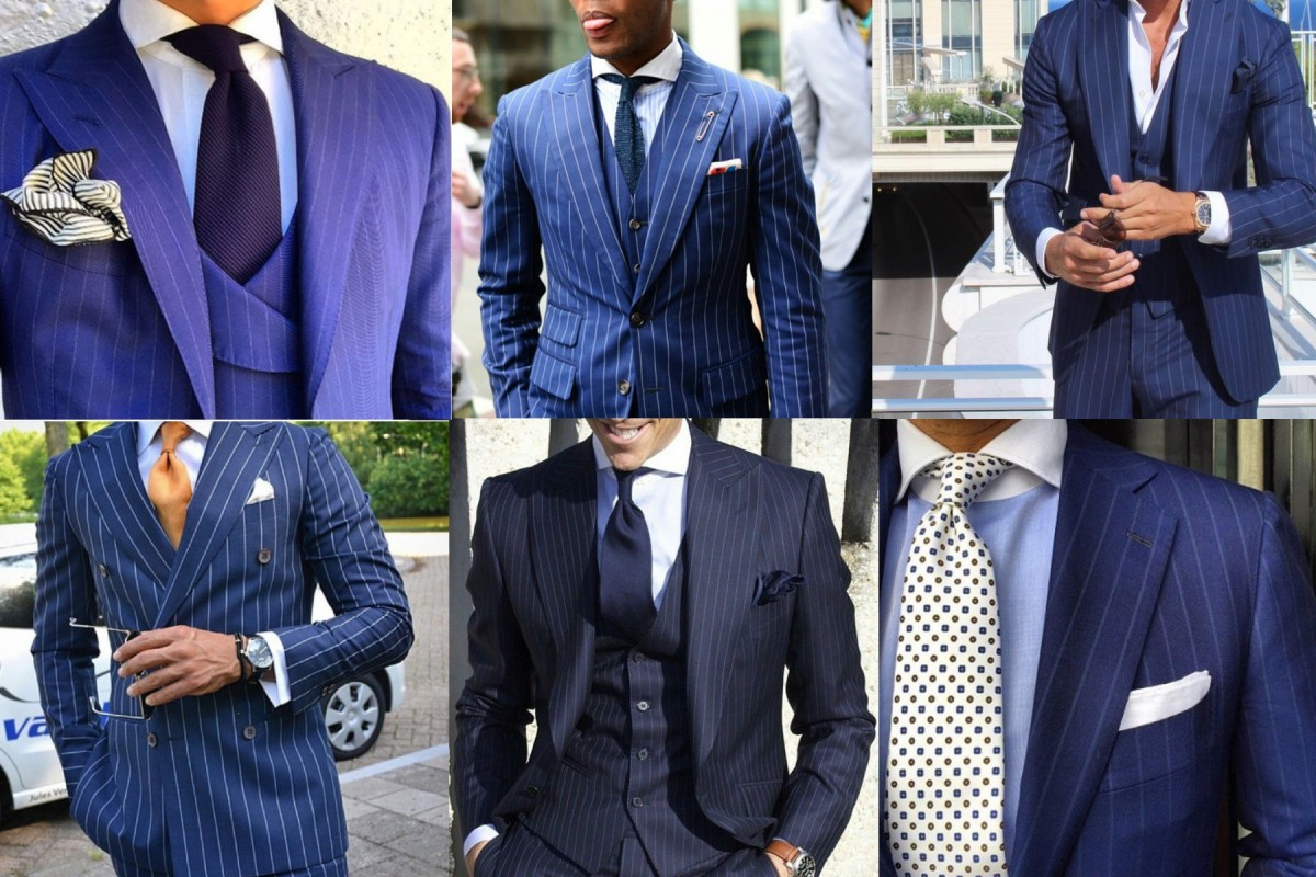 blue pin stripe suit cover photo